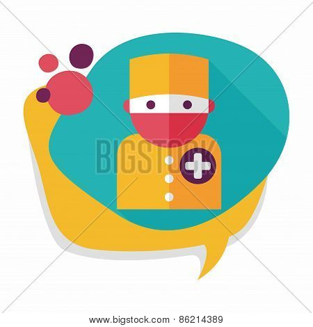 Medical People With Stethoscopes Flat Icon With Long Shadow, Eps10