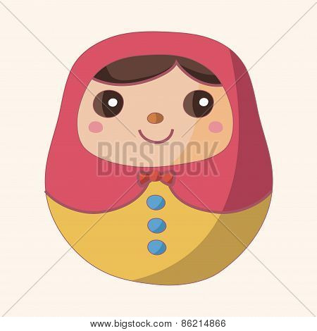 Matryoshka , Russian Traditional Wooden Doll, Theme Elements