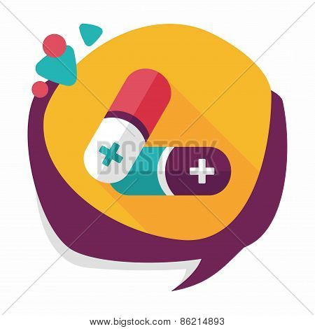 Pills Flat Icon With Long Shadow,eps10