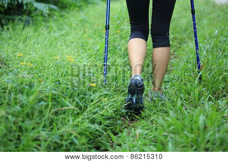 woman hiker hiking in green grass