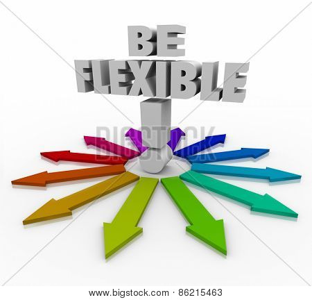 Be Flexible 3d words on arrows pointing in different directions to illustrate the need to be adaptive, responsive and open to change to succeed in altered conditions in business or life