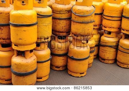 Yellow gas cylinder