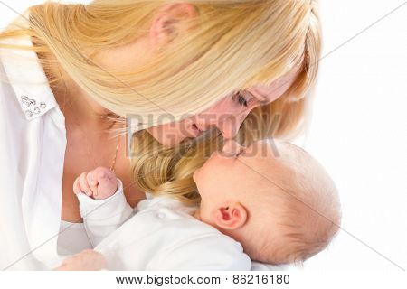 Young mother with cute baby boy
