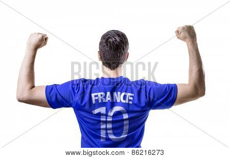 French soccer player celebrating on white background