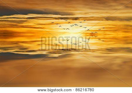 golden sunrise at sea