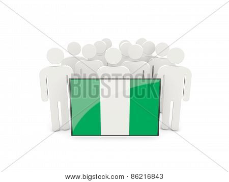 People With Flag Of Nigeria