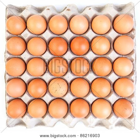 Brown Eggs And Paper Egg Tray On White Background.