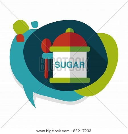 Kitchenware Sugar Flat Icon With Long Shadow,eps10