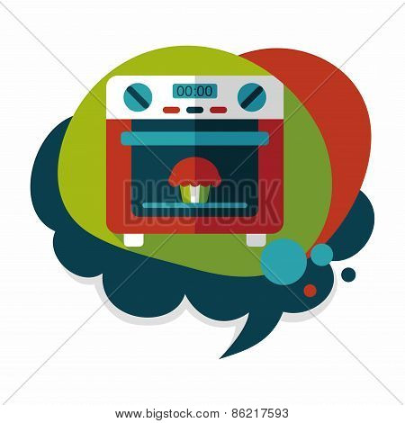 Kitchenware Oven Flat Icon With Long Shadow,eps10