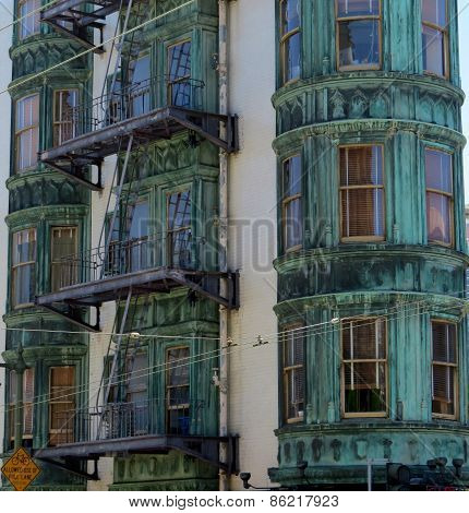 copper building vertical lines