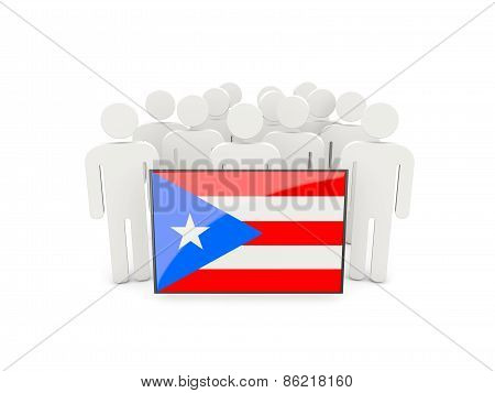 People With Flag Of Puerto Rico