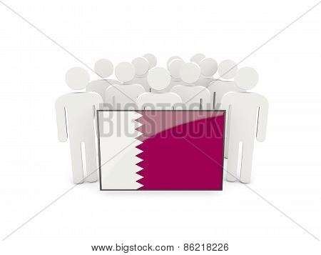 People With Flag Of Qatar