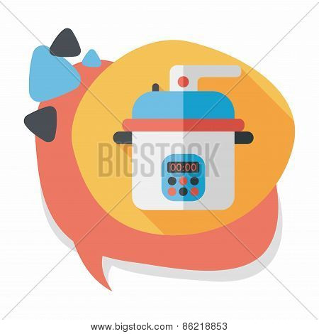 Kitchenware Rice Cooker Flat Icon With Long Shadow,eps10