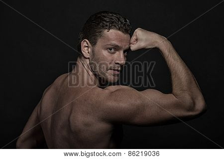 Glamour Young Handsome Athletic Man, Side View
