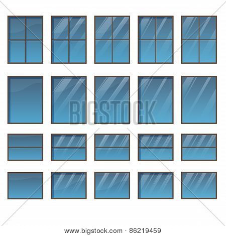 Set of different windows