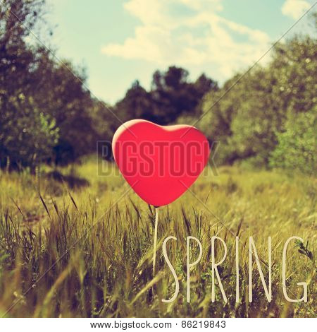 the word spring and a red heart-shaped balloon in a country landscape, with a retro effect