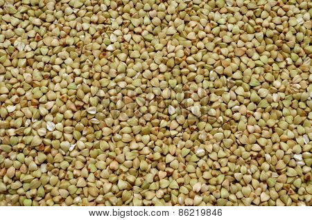 closeup of healthy uncooked buckwheat seeds