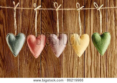Valentines Day. Hearts Handmade Set. Love Concept. Retro