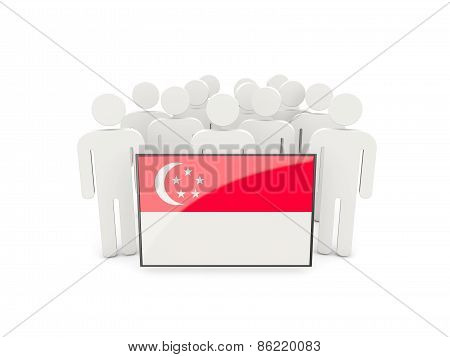 People With Flag Of Singapore