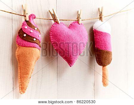 Valentine's Day. Heart,  Ice Cream Couple Handmade. Love Concept