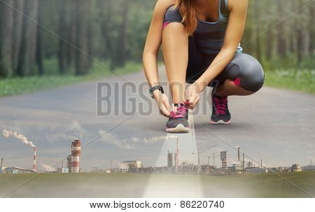 Double Exposure Of Sport Healthy Human Being In The Beautiful Nature Forest And Industrial Enterpris