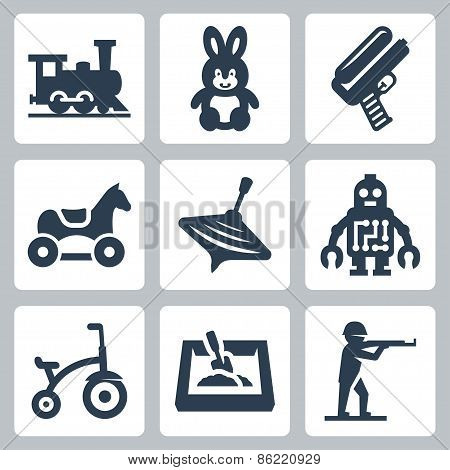 Children's Toys Vector Icons Set