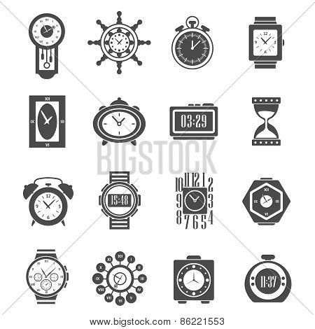 Clock Black Icons Set