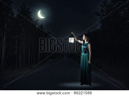 Girl lost in night