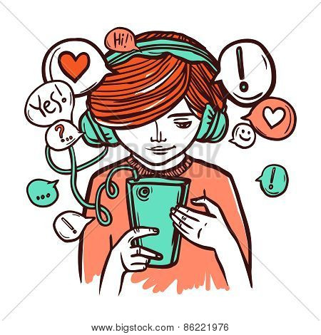Young Girl In Headphones With Smartphone