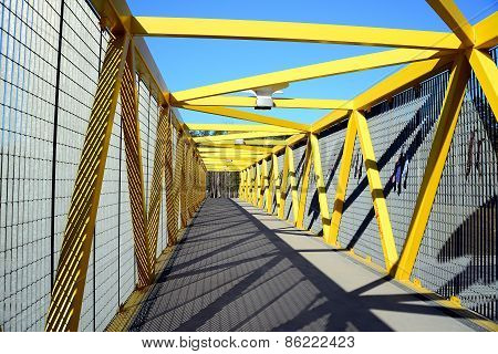 Walking Bridge Over Bybass Of Vilnius City In Western Side