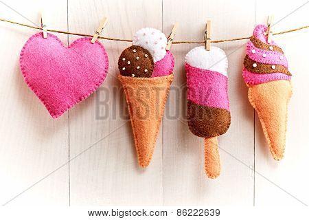 Valentine's Day. Heart, Sweet Ice Cream Handmade. Love Concept