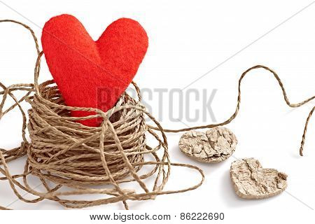 Valentines  Red Handmade Heart In Nest Of Twine