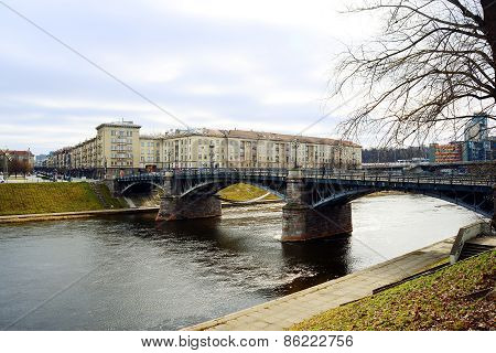 Vilnius City Zverynas Old Bridge On March 13