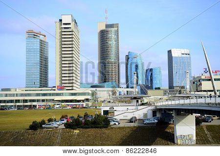 Vilnius Spring Panorama With Skyscrapers On Neris River Board
