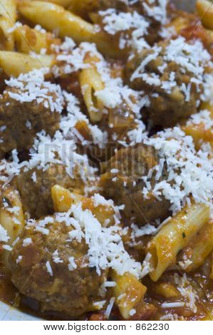 meatballs pomodoro and penne