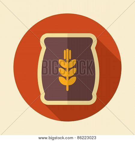 Sack Of Grain Retro Flat Icon With Long Shadow