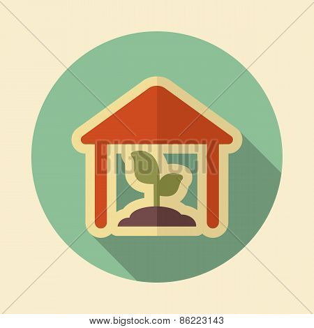 Greenhouse Retro Flat Icon With Long Shadow