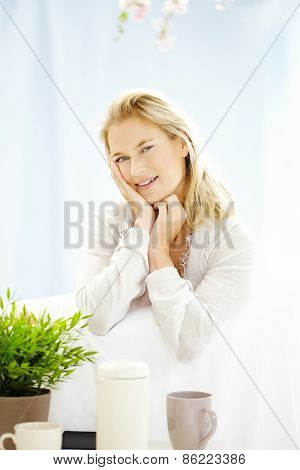 Sitting Happy Woman