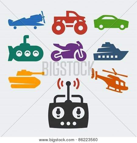Remote Control Toys Vector Icons Set