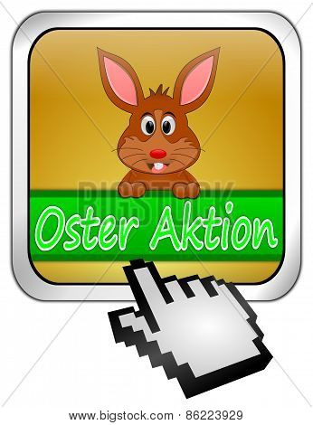 Button Oster Aktion with easter bunny and cursor in german