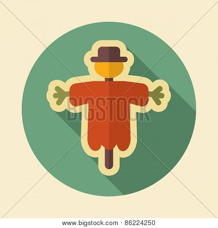 Scarecrow Retro Flat Icon With Long Shadow