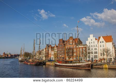 Old Ships At A Canal In Lubeck