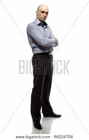 Photo of hairless business man full length