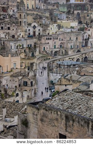 Central Street In The Old Part Of Matera