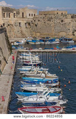 Fishing Boats Along The City Wall Of Gallipoli
