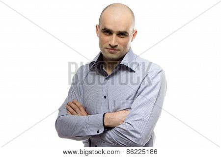 Portrait of smiling young hairless business man
