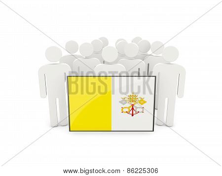 People With Flag Of Vatican City