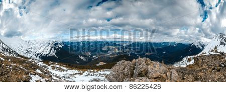 Panorama of Snow Mountain Range Landscape with Blue Sky at Carpathian mountain region. Ukrainend