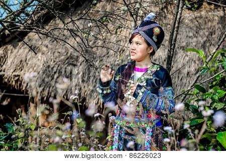 Ethnic girl near her house