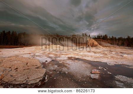 Yellowstone Park at dark